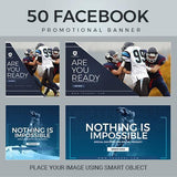 100 - Sport Facebook Banners 4.00 watercolor action