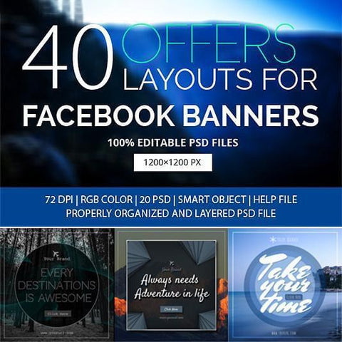 40 Facebook Ad Banners - photoshop action