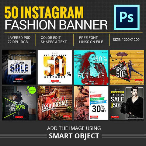 50 -  Instagram Promotional Banners 4.00 watercolor action