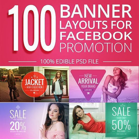 100 - Facebook Promotion Banners 4.00 watercolor action