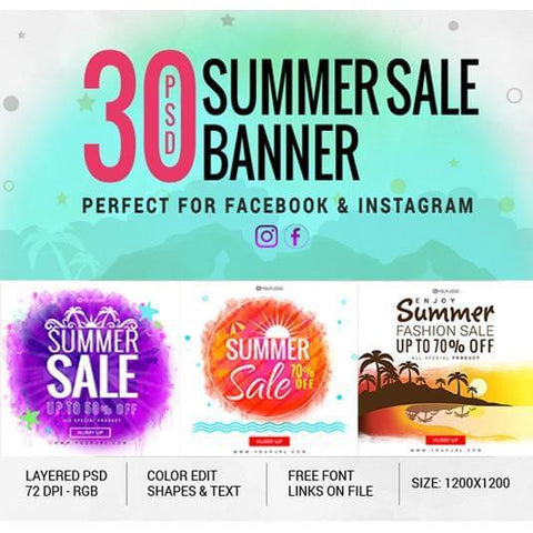 30 - Facebook Creative Banners - photoshop action
