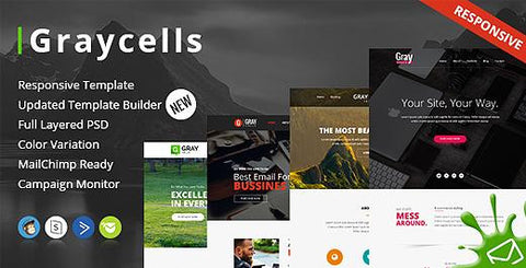 60 MODULES MULTIPURPOSE RESPONSIVE EMAIL TEMPLATES - photoshop action
