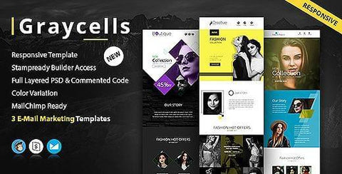 3 MULTIPURPOSE RESPONSIVE EMAIL TEMPLATES - photoshop action