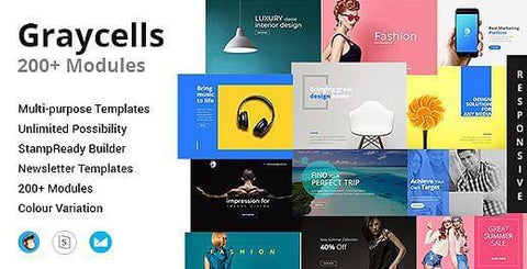 200 MODULES EMAIL TEMPLATES - photoshop action