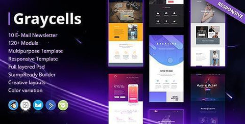 10 MULTIPURPOSE RESPONSIVE EMAIL TEMPLATES - photoshop action