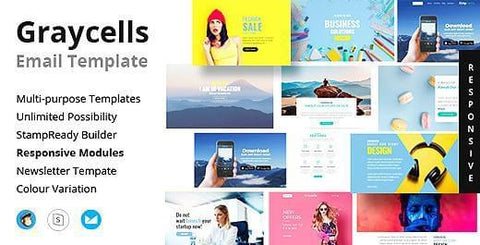400 MODULES RESPONSIVE EMAIL TEMPLATES - photoshop action