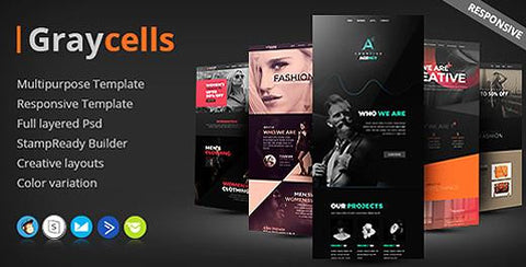 5 FASHION MULTIPURPOSE RESPONSIVE EMAIL TEMPLATES - photoshop action
