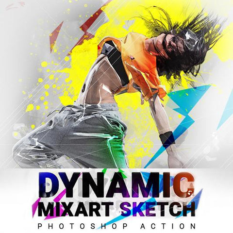 Dynamic MixArt Sketch - photoshop action