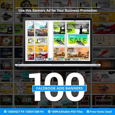 100 - Facebook Ad Banners - photoshop action