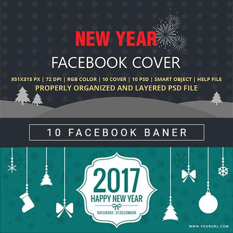 Facebook Cover Banner New Year - photoshop action
