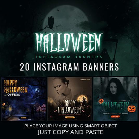 20 - Halloween Instagram Banners - photoshop action