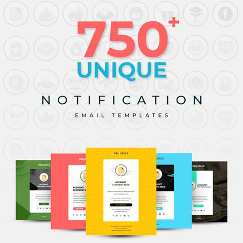 750+ Responsive Email Notification template with StampReady Online Builder Access 11.00 watercolor action