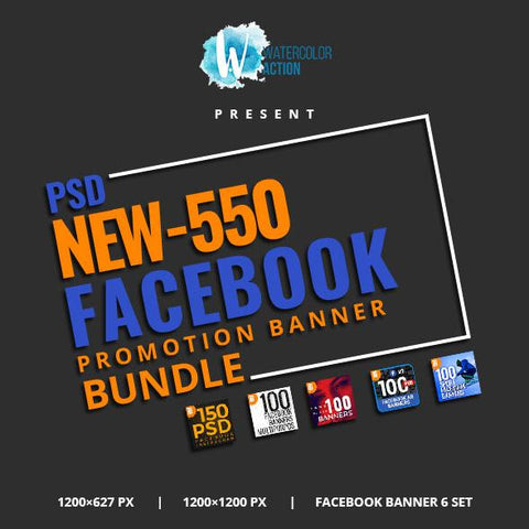 550 Facebook Banner Bundle 2 - photoshop action