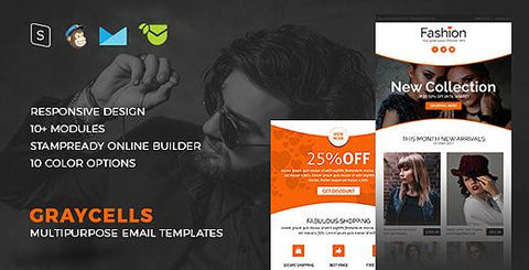 GRAYCELLS - 10 COLOR MULTIPURPOSE RESPONSIVE EMAIL TEMPLATES