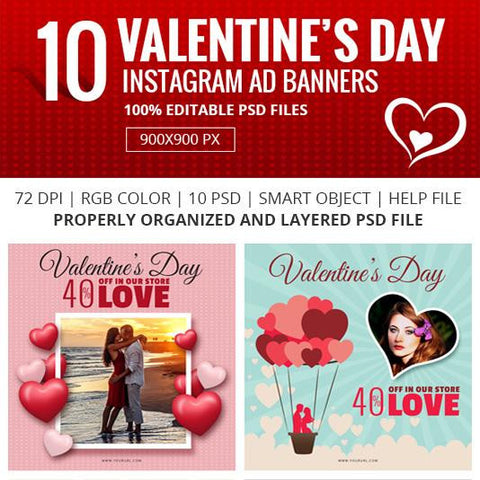10 -Valentine Day Instagram Banners 0.00 watercolor action
