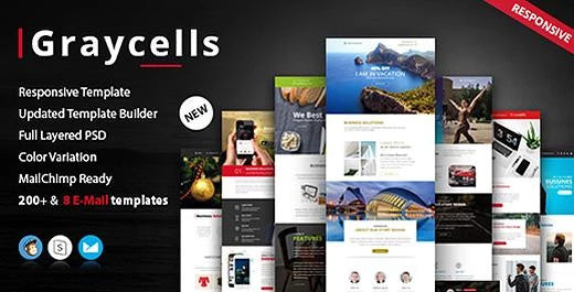 graycells-200+modules multipurpose responsive email templates