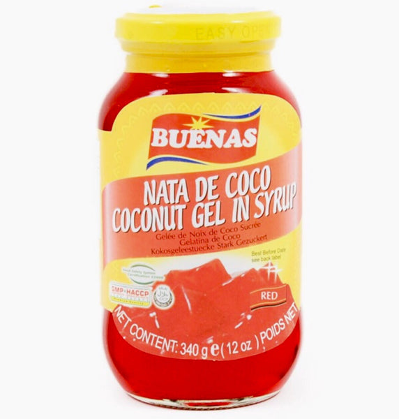 Buenas Red Nata De Coco (Coconut Gel in syrup) 340g - Asian Online Superstore UK