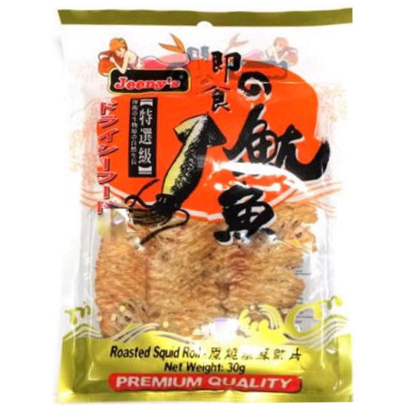Jeeny's Seafood Snack Roasted Squid Roll 30g - Asian Online Superstore UK