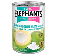 Twin Elephants Young Coconut Meat in Syrup (Sliced) 425g