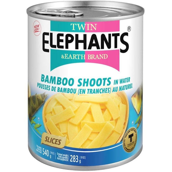 Twin Elephants Siced Bamboo Shoots in Water 540g - Asian Online Superstore UK
