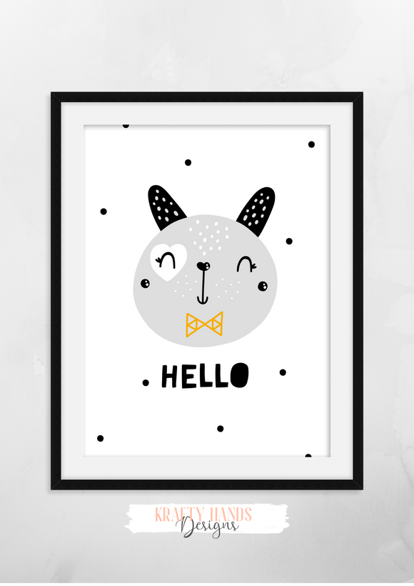 Scandinavian -Hello- Nursery Print - Krafty Hands Designs