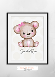 Personalised Pink Bear Room Name - Nursery Print - Krafty Hands Designs
