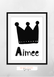 Personalised Scandinavian Crown Name - Nursery Print - Krafty Hands Designs