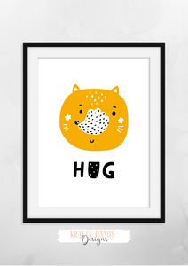 Scandinavian - Hug- Nursery Print - Krafty Hands Designs