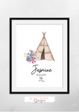 Personalised Watercolour Tipi Name and Birth Information - Nursery Print - Krafty Hands Designs