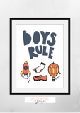 Scandinavian - Boys Rule - Print - Krafty Hands Designs