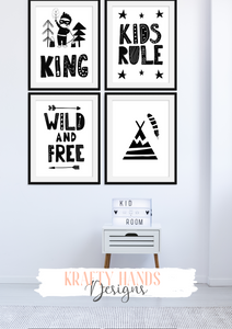 Scandinavian - King - Set of 4- Nursery Prints - Krafty Hands Designs