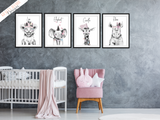Pink Safari Animals - Set of 3- Nursery Print - Krafty Hands Designs