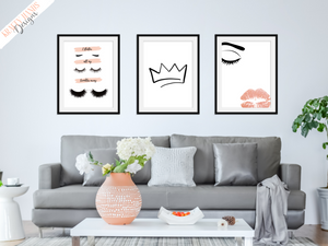 Beauty - Set of 3- Lashes, Lips and Crown  - Home - Print - Krafty Hands Designs