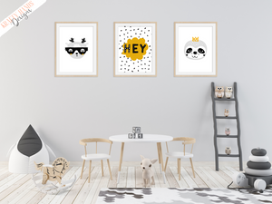Scandinavian Animal's - Set of 3- Nursery Prints - Krafty Hands Designs