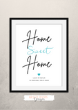 Personalised - Home Sweet Home - Print - Krafty Hands Designs