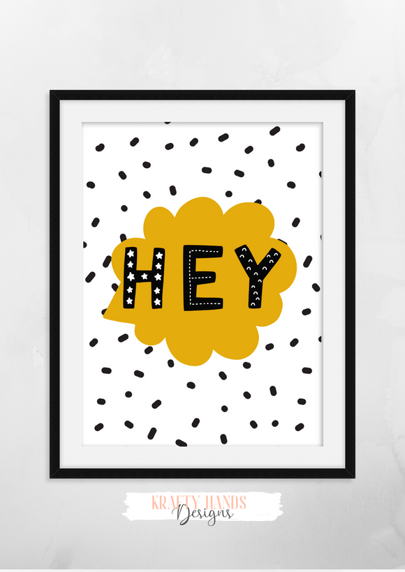 Scandinavian Animal - Hey- Nursery Print - Krafty Hands Designs