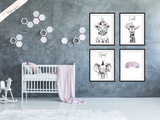 Safari Elephant With Pink Bubbles- Nursery Print - Krafty Hands Designs