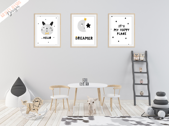 Scandinavian - Happy Place - Set of 3- Nursery Prints - Krafty Hands Designs