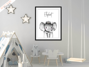 Safari Elephant with Hat - Nursery Print - Krafty Hands Designs