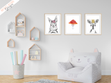 Woodland Animals - Set of 3- Nursery Print - Krafty Hands Designs