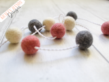 Felt Ball Garland - Pink Dusk - Krafty Hands Designs
