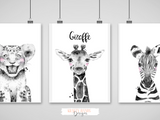 Safari Animal's - Black and White - Krafty Hands Designs