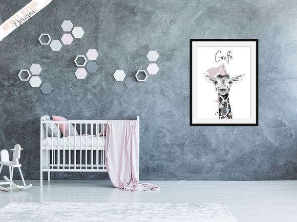 Safari Giraffe With Pink Hat- Nursery Print - Krafty Hands Designs