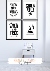 Scandinavian - Girls Rule - Set of 4- Nursery Prints - Krafty Hands Designs