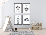 Safari Lion with Blue Feather- Nursery Print - Krafty Hands Designs