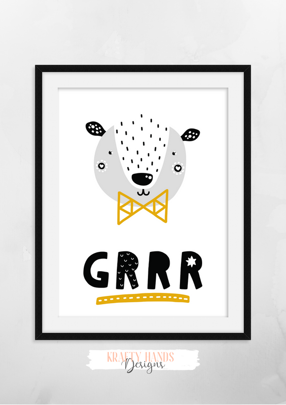 Scandinavian - Bear - Nursery Print - Krafty Hands Designs