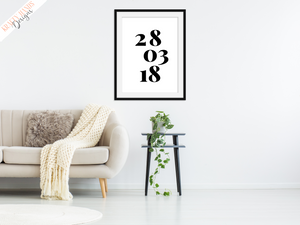 Personalised - Special Date - Home Print - Krafty Hands Designs