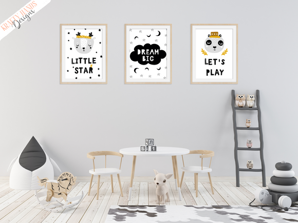 Scandinavian - Dream Big - Set of 3- Nursery Prints - Krafty Hands Designs