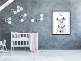 Safari Rhino With Pink Feathers - Nursery Prints - Krafty Hands Designs