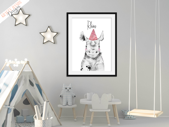 Safari Rhino with Red Hat - Nursery Print - Krafty Hands Designs